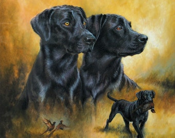 """Black labrador dog art canine limited edition art print dog print 16"""" x 16"""" mounted and ready to frame"""