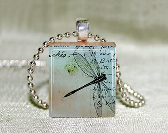 "Dragonfly on Blue Letter Scrabble Jewelry - Choose Pendant or Necklace - Dragonfly Jewelry - Dragonfly Art - Charm - 18"" Chain"