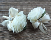 Men's Boutonniere, Off  White Rose with Ivory ribbon and rhinestone accent