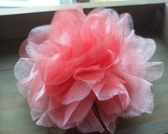 Jumbo Organza Flower Brooch, Bright Pink Fabric Flower, Sash Flower, Shoulder Flower, Headpiece, Dress accessories