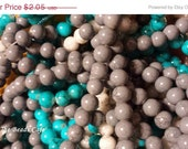 ON SALE 8mm Gray or Bright Blue Brick Glass beads