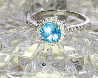 Blue Topaz Halo Ring or Engagement Ring Handmade Jewelry