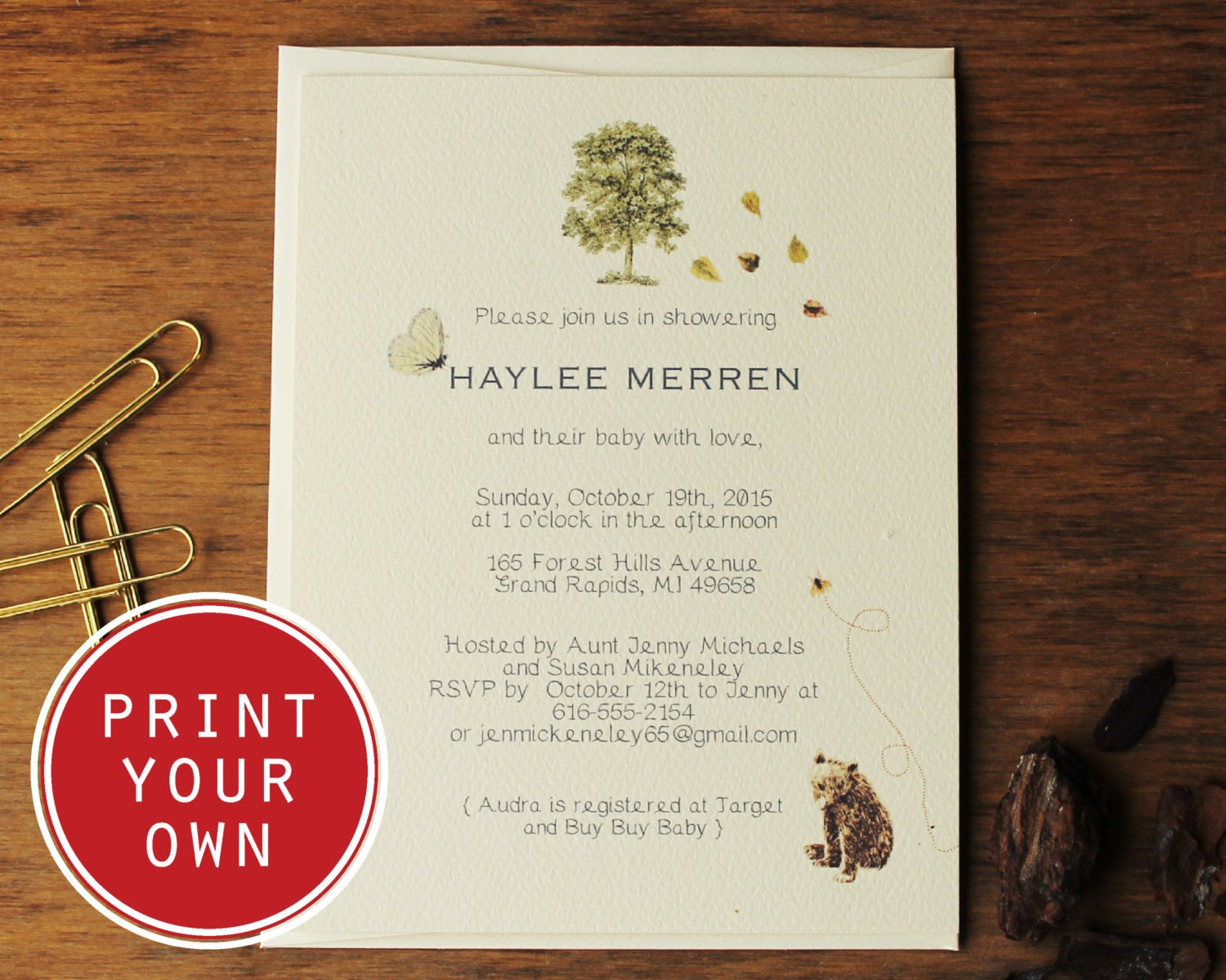 woodland baby shower invitation diy printable vintage baby