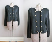 80s Black Sweater Gold Buttons Brass Vintage 80s Sweater Pullover Jumper / Large