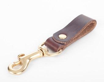 Leather Keychain  - Black or Brown CXL - Brass Hardware