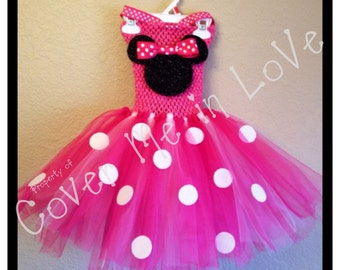 Pink and white Minnie Mouse tutu dress with ribbon neck strap one sz 18 mo to 7