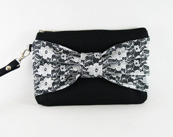 SUPER SALE - Black Lace Bow Clutch - Bridal Clutches, Bridesmaid Wristlet, Wedding Gift, Cosmetic Bag, Zipper Pouch - Made To Order