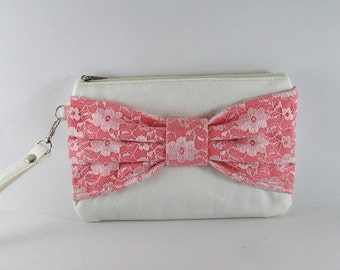 SUPER SALE - Ivory with Peach Lace Bow Clutch - Bridal Clutches, Bridesmaid Wristlet, Wedding Gift,Cosmetic Bag,Zipper Pouch - Made To Order