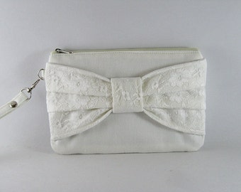 SUPER SALE - Ivory Lace Bow Purse - Bridal Purse, Bridesmaid Purse, Wedding Purse, Evening Purse - Made To Order