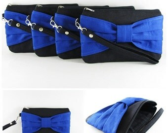 SUPER SALE - Set of 5 Black with Royal Blue Bow Clutch - Bridal Clutch,Bridesmaid Clutch,Bridesmaid Wristlet,Wedding Gift - Made To Order