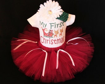 Baby's First Christmas Outfit  - Babys 1st Christmas -  My First Christmas Tutu  - Baby Girls 1st Christmas Santa's Sleigh Set - CTHP1406B3