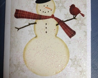 Red Bird Card Snowman - FREE SHIPPING