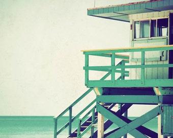 Miami photograph, Florida photography, beach print, beach decor, Miami Beach, mint, teal - On Duty