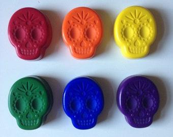 Set of 6 Sugar Skull Crayons (soy/bees wax)