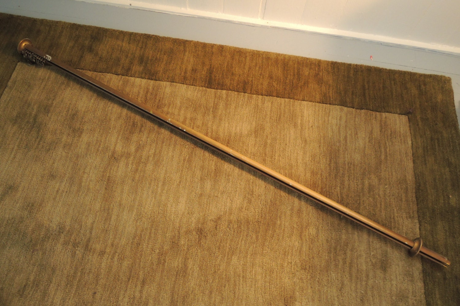 Brass Shower Rod Curtain Rod Vintage By Bluebarncollectibles