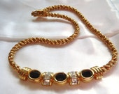 Vintage Swarvoski Signed Gold Tone Crystal Black Onyx Rope Link Necklace Wedding