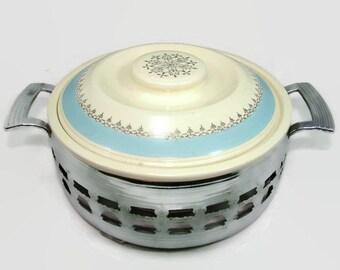 Homer Laughlin Kitchen Kraft Casserole in Carrier, Vintage Blue & Silver Ceramic Baking Dish in Chrome Holder, HLC Party Serving Bowl