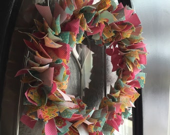 13 in Spring Rag Wreath. Optional Easter Eggs.