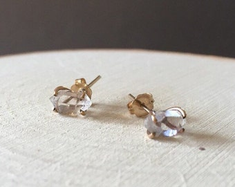Gold Herkimer Diamond Prong Stud Earrings