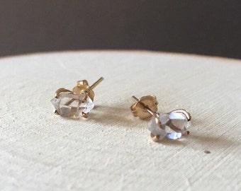 Rose Gold Herkimer Diamond Prong Stud Earrings