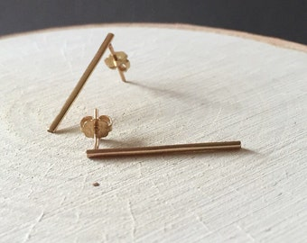 Vertical Gold Bar Post Earrings