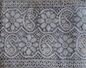 WidePanel antique lace 2.6metres Wedding dress insert / veil / train cotton linen lace handmade in Ceylon Sri Lanka circa 1920s or earlier