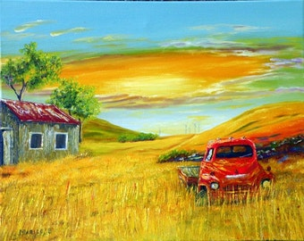 Out to Pasture, a quality limited edition giclee print on canvas of an original oil painting by Marilu, Old Truck in a field
