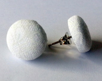 White Fabric Button Stud Earrings