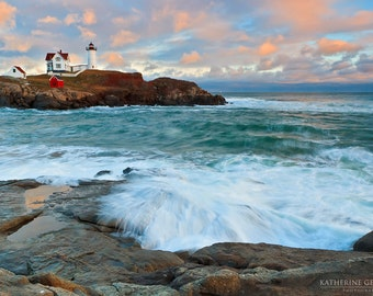 Nubble Lighthouse, Maine Photograph, Seascape Photo, Large Wall Art, Ocean Sunset Print Teal Blue Peach Coastal Beach Decor Nautical Artwork