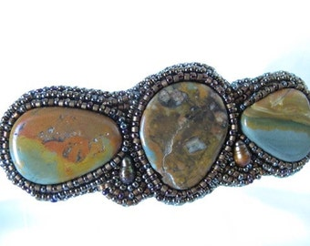 Barrette-three jasper cabochons-bead embroidered-fresh water pearl accents-seed beads-genuine pearls-hair accessory-gift for girls-original
