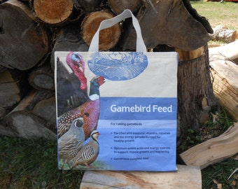Periwinkle Gamebird Tote / Turkey, Pheasant  ~ upcycled totes from feed bags