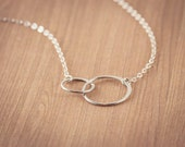 Two SISTERS  Circles Necklace , Interlocking Circles,   Sterling Silver,   Two sisters  ETERNITY, gift for sisters, Frendship Gift