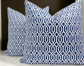 Navy Lattice pillow cover,  Navy pillow cover with small fretwork print, All Sizes available - Trellis fabric both sides