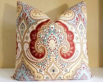 Kravet Ikat Pillow Cover - Rust, Yellow, Light Blue, Gray and light Ivory Linen Pillow cover 18x18,  20x20, 22x22, 24x24, 26x26