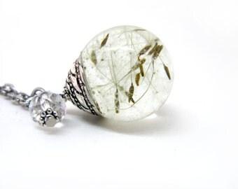 Adorable Dandelion Seeds Resin Pendant Necklace - dandelion seeds encased in resin orb, Pressed Flower Jewelry Dandelion Pendant