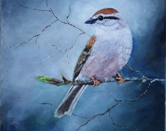 wildlife Bird Painting of a Chipping Sparrow on a tree branch