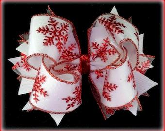 Snowflake Hair Bow...Red Snowflake...Christmas Hair Bow...Holiday Hair Bow...Red and White Hair Bow