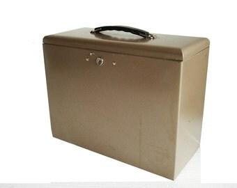 Vintage File Box Rockaway Metal Prod. Corp. USA Taupe Metal File Box