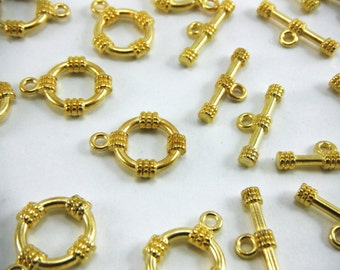 10 Sets of Gold Toggle Bar Clasps 19mm x 15mm Necklace Closure Bracelet Closure Connecter Bar And Ring Clasp002