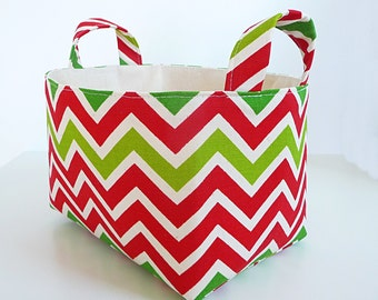 Holiday Chevron Storage Basket - Fabric Organizer Bin in Chevron/Zig Zag - Gift Basket - Holiday Decor