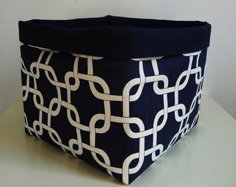 Extra Large Storage Basket Fabric Organizer in Navy Blue/White Chainlink, Canvas Liner, Toy, Nursery, Home, Office - Choose Size