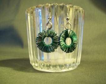 Green Wire Wrapped Washer Earrings