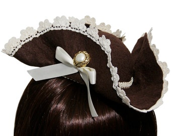 Pirate Lass by Bella Bows- Chocolate Brown and Ivory Mini Tricorn Pirate Hat