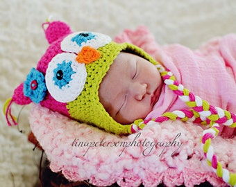 Owl Earflap Hat Pink, Green, Blue, Orange, and White with attached Flower