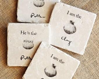 Christian Coasters- Christian Decor, He is the Potter, Christian Home Decor, Christian Gift, Faith Gift, Faith Decor, Stone Coaster, Tile