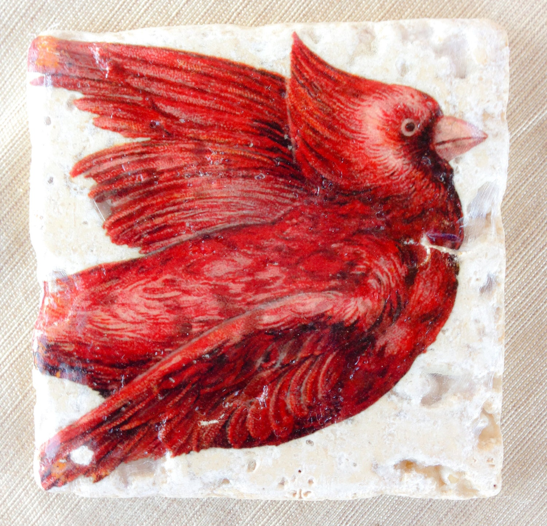 Cardinal Bird Coasters Red Decor Cardinal Decor By Lotuspetale