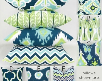 Navy & Green Throw Pillow Covers -MANY SIZES- Lime Green Navy Cushion, Aqua Green, Beach Decor Mix/Match patterns Canal Pemier Prints