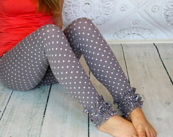 Gray and white polka dot Ruffled Leggings from GreenStyle