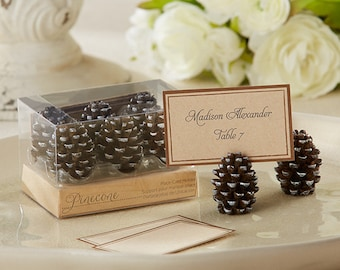 Rustic Place Card Favors (Set of 12), Pine Cone wedding favors, Autumn theme Favors, Rustic Wedding Decorations