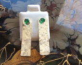 Textured Earring Jackets Emerald CZ
